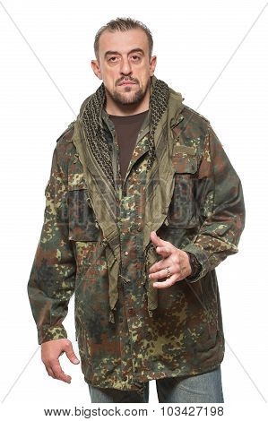 adult scary man in a camouflage jacket. a dangerous person.
