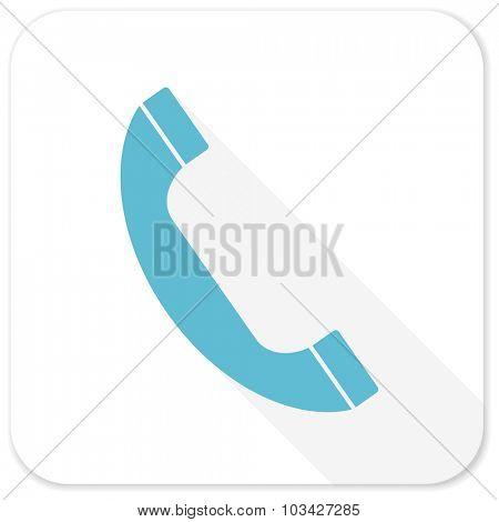 phone blue flat icon