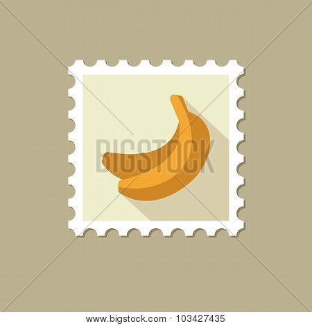 Banana flat stamp with long shadow