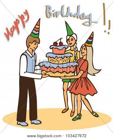 Children With Cake Birthday
