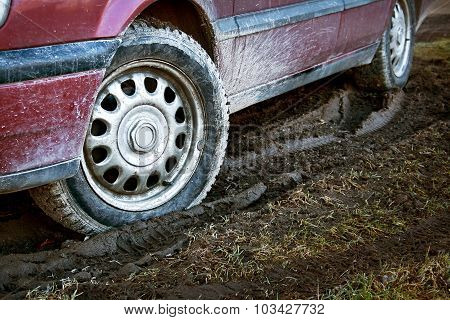 car tires in dirt
