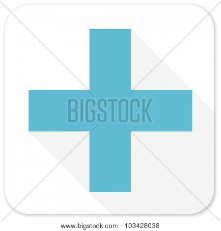 plus blue flat icon