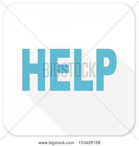 help blue flat icon
