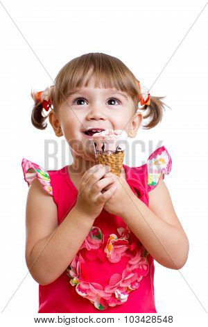 little child girl with ice cream isolated