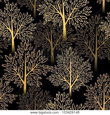 Fall season background. Autumn tree seamless pattern. Vector illustration