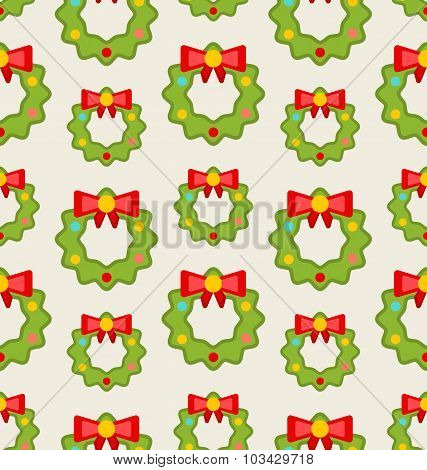Seamless Pattern with Christmas Wreathes