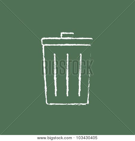 Trash can hand drawn in chalk on a blackboard vector white icon isolated on a green background.