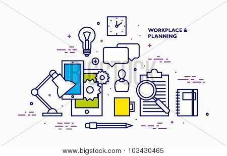 Flat Style, Thin Line Art Design. Set of application development, web site coding, information and mobile technologies vector icons and elements. Modern concept vectors collection.