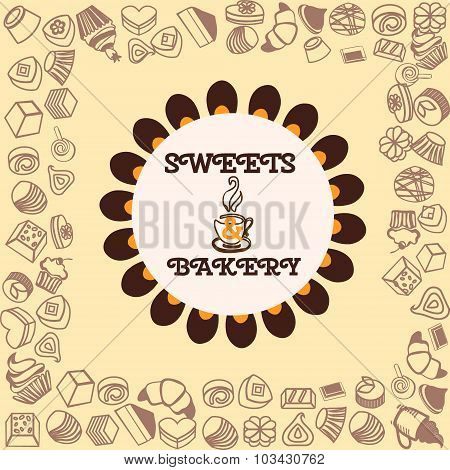 Menu For Dessert Background. Sweets And Bakery