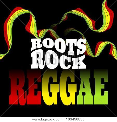 Roots Rock Reggae music design. Vector illustration