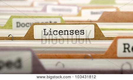 Licenses on Business Folder in Catalog.
