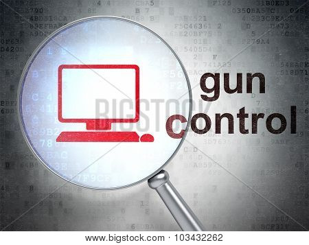 Safety concept: Computer Pc and Gun Control with optical glass