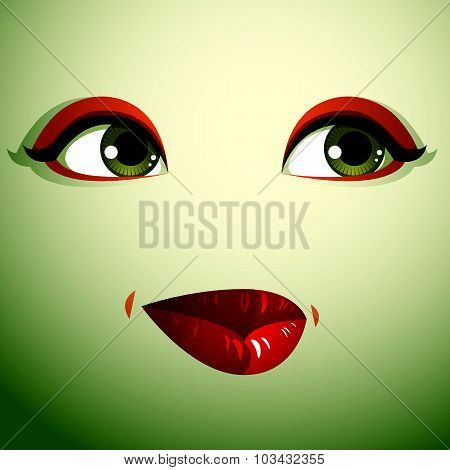 Emotional expression on the face of a cute girl. Beautiful sad and dreamy woman with modern makeup