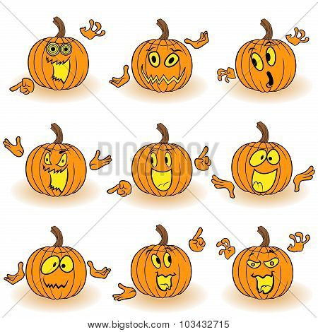 Halloween Set Of Gesticulating Orange Pumpkins
