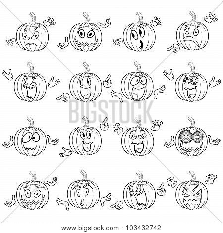 Halloween Set Of Gesticulating Pumpkin Outlines