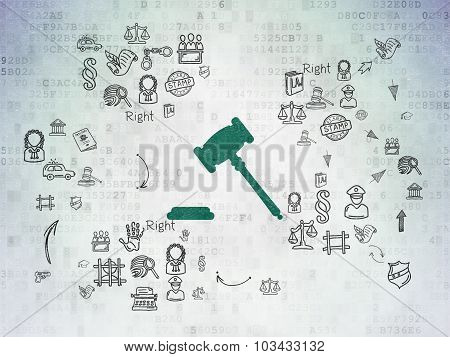 Law concept: Gavel on Digital Paper background