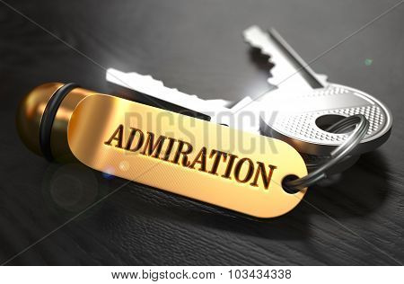 Keys with Word Admiration on Golden Label.