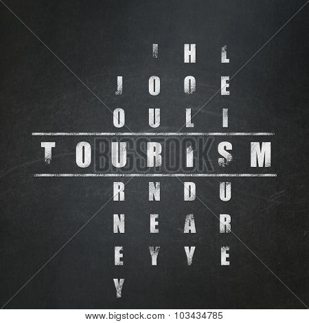 Vacation concept: Tourism in Crossword Puzzle