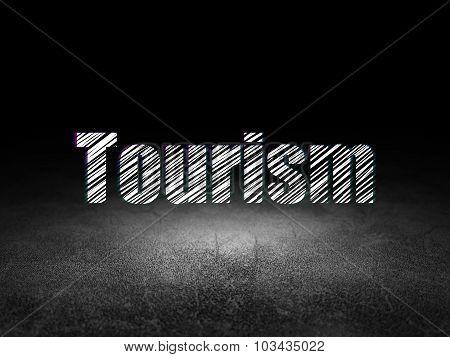 Vacation concept: Tourism in grunge dark room