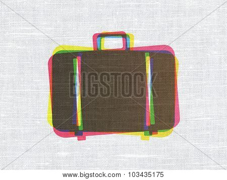 Travel concept: Bag on fabric texture background