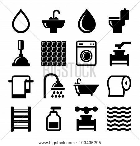 Bathroom and Water Icons Set. Vector