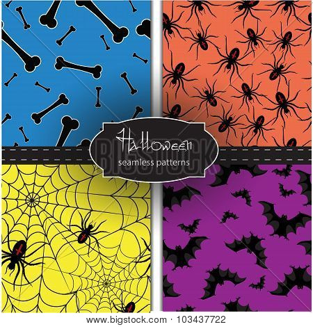 Set Of Seamless Halloween Backgrounds