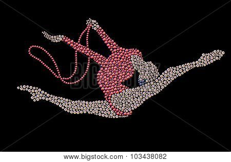 Jumping gymnast with rope made with bright colored rhinestones on black backdrop.