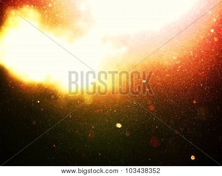 Abstract Red, Orange Background With Floating Dust