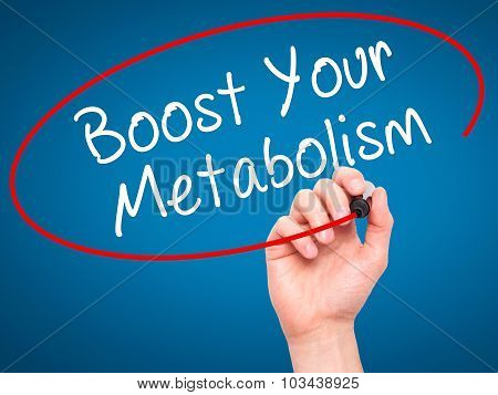Man Hand writing Boost Your Metabolism with black marker on visual screen.