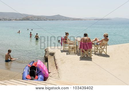 Paros, Greece, 09 August 2015.Tourists and local people enjoying their summer vacations.
