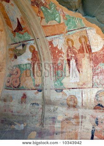 Murals In Cave Refectory. David Gareja Monastery. Kakheti.  Georgia.