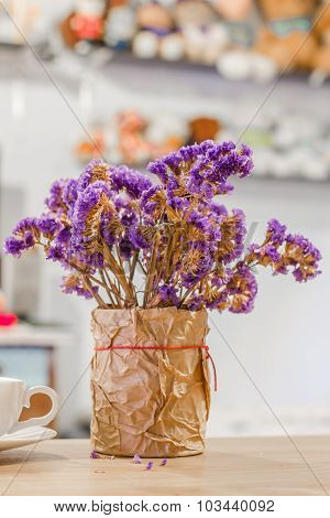 Bouquet Of Dried Purple Statice Flowers