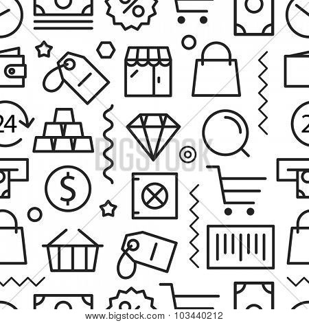 Different shopping seamless pattern. Lineart concept