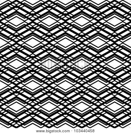 Geometric seamless pattern with parallel lines and geometric elements, infinite grunge monochrome