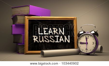 Learn Russian - Chalkboard with Hand Drawn Text.