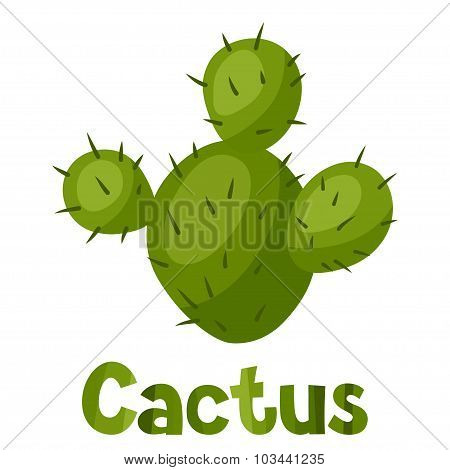 Abstract stylized cactus and text background design
