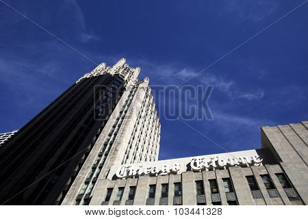 CHICAGO - FRIDAY, SEPTEMBER 25, 2015: The headquarters of the Chicago Tribune. The Chicago Tribune is a daily newspaper based in Chicago, owned by the Tribune Publishing Company.