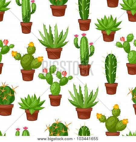 Seamless pattern of abstract cactuses in flower pot