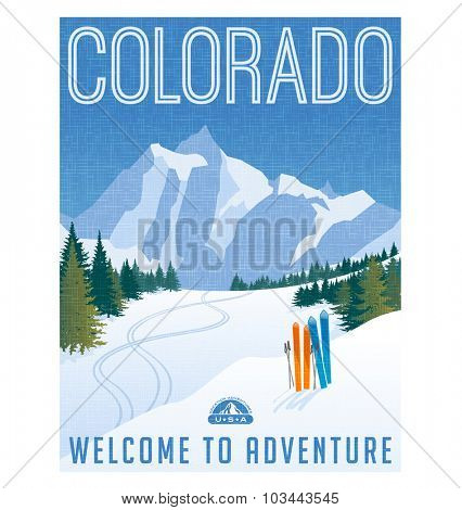 Retro style travel poster or sticker. United States, Colorado ski mountain landscape.
