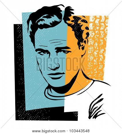 Oct.2, 2015: vector Illustration of actor Marlon Brando in retro style