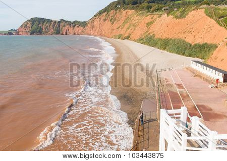 Sidmouth Devon England UK beach on the west side of this popular tourist town