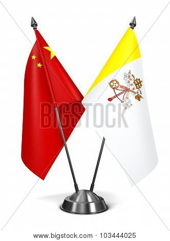 China and Vatican City - Miniature Flags.