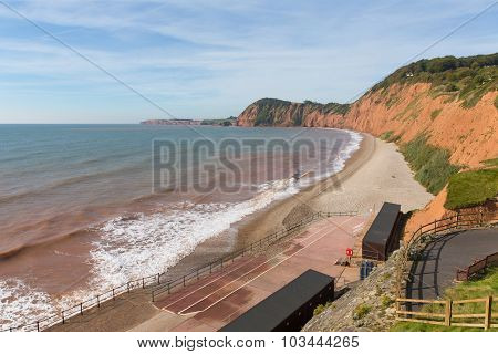 Sidmouth beach Devon England UK on the west side of this popular tourist town