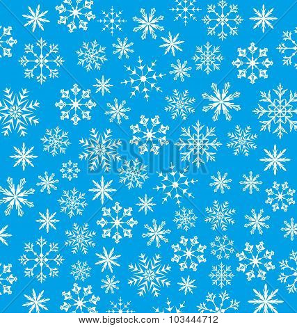 New Year blue wallpaper, snowflakes texture