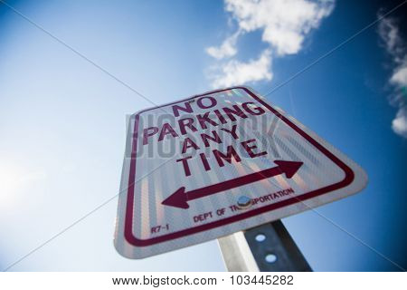 NEW YORK CITY, USA - CIRCA SEPTEMBER 2014: No parking any time sign
