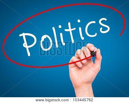 Man Hand writing Politics with black marker on visual screen.