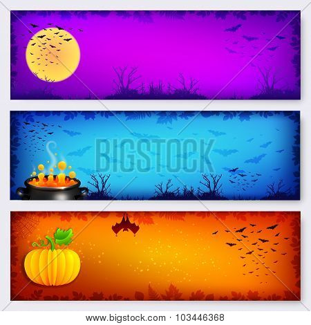 Colorful vector Halloween banners backgrounds set