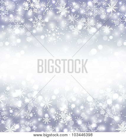 Navidad purple background with snowflakes and copy space for you