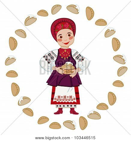 Woman In The Ukrainian National Costume Holding A Plate Of Dumplings