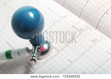 Electrode And Ecg Chart Closeup